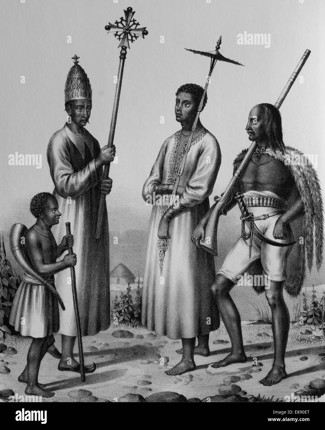 Procession. Ethiopian Orthodox Tewahedo Church. Abyssinian (today Ethiopia), 1880. Engraving. - Stock Image