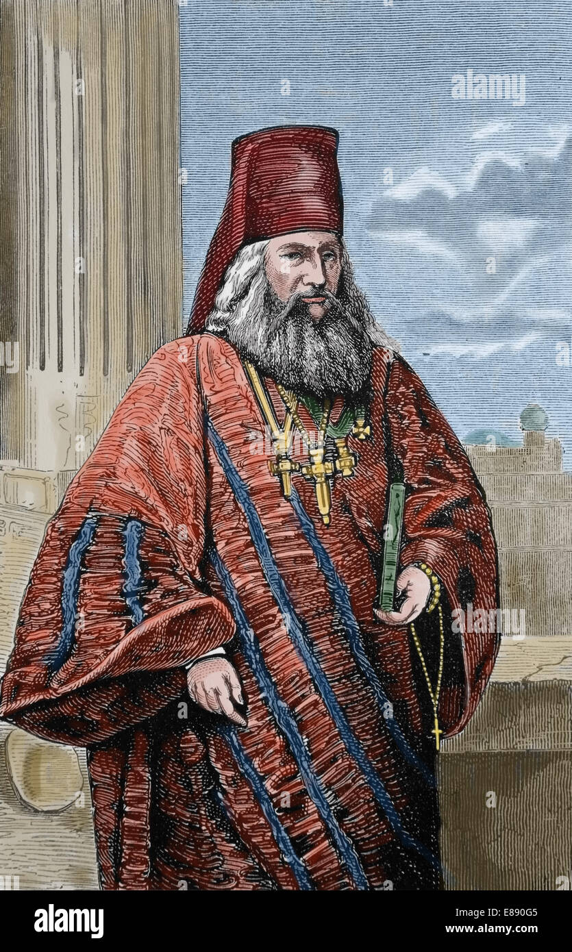 Europe. Eastern Orthodox Church. Greek Orthodox cleric, 1870. Engraving. Later colouration. - Stock Image