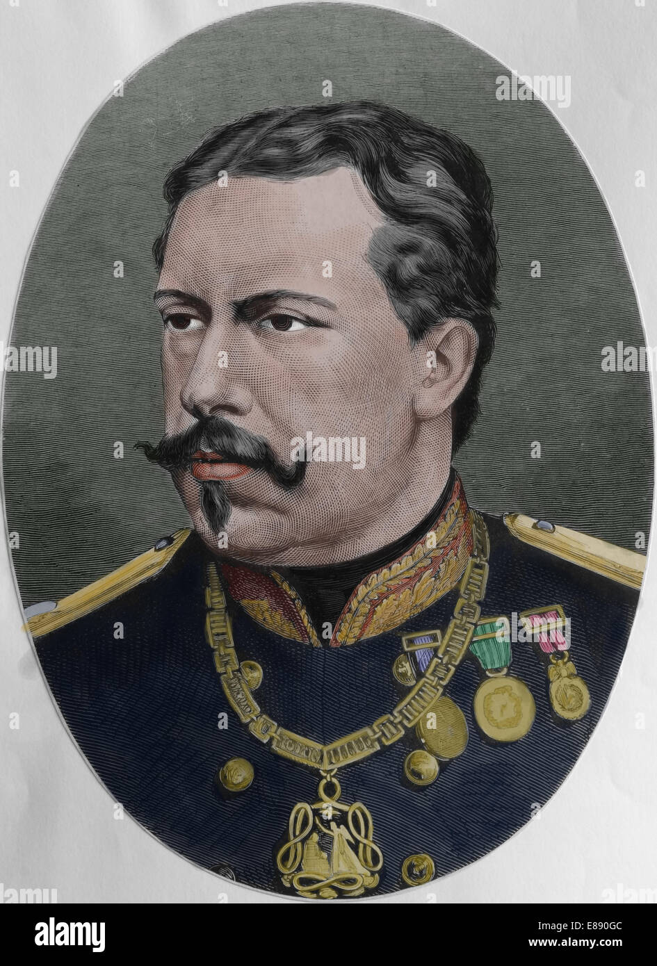 Louis I (1838-1889). King of Portugal between 1861-1889. Engraving, 1879. Color. - Stock Image