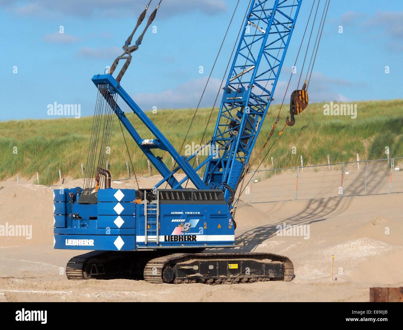 Liebherr crawler crane at Noordwijk beach, pic2 Stock Photo
