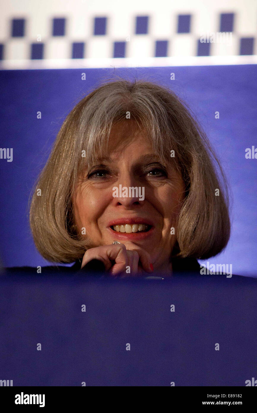 Home Secretary Theresa May speaks on opening day of Association Of Chief Police Officers ACPO summer conference - Stock Image