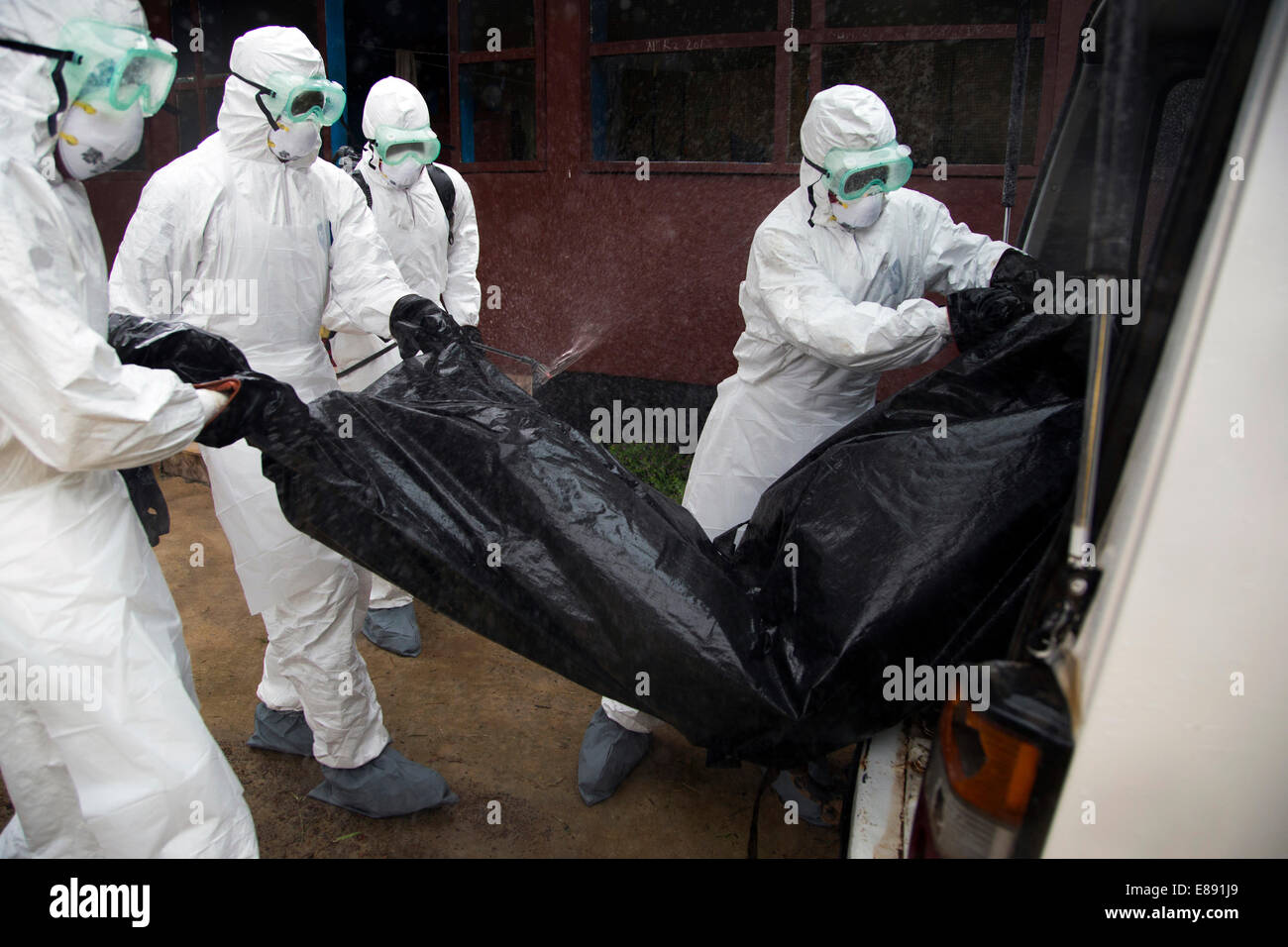 Body removal team loads a body bag into their van in order to drive it to the burial ground. Unification Town, Liberia. - Stock Image