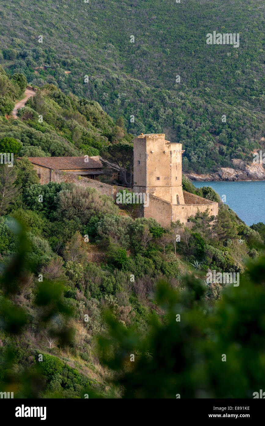 Landscape view from the panoramic road around Monte Argentario, Italy, Tuscany. - Stock Image
