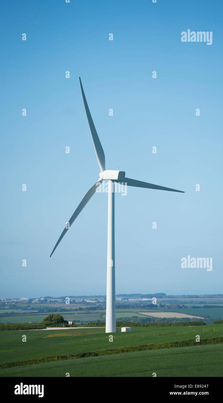 Wind turbines producing renewable energy in Cornwall. - Stock Image