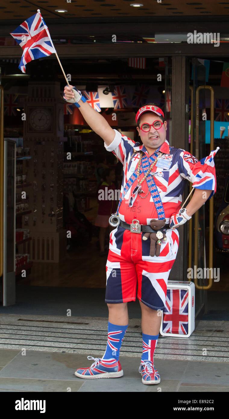 man dressed in patriotic union jack clothing stock photo