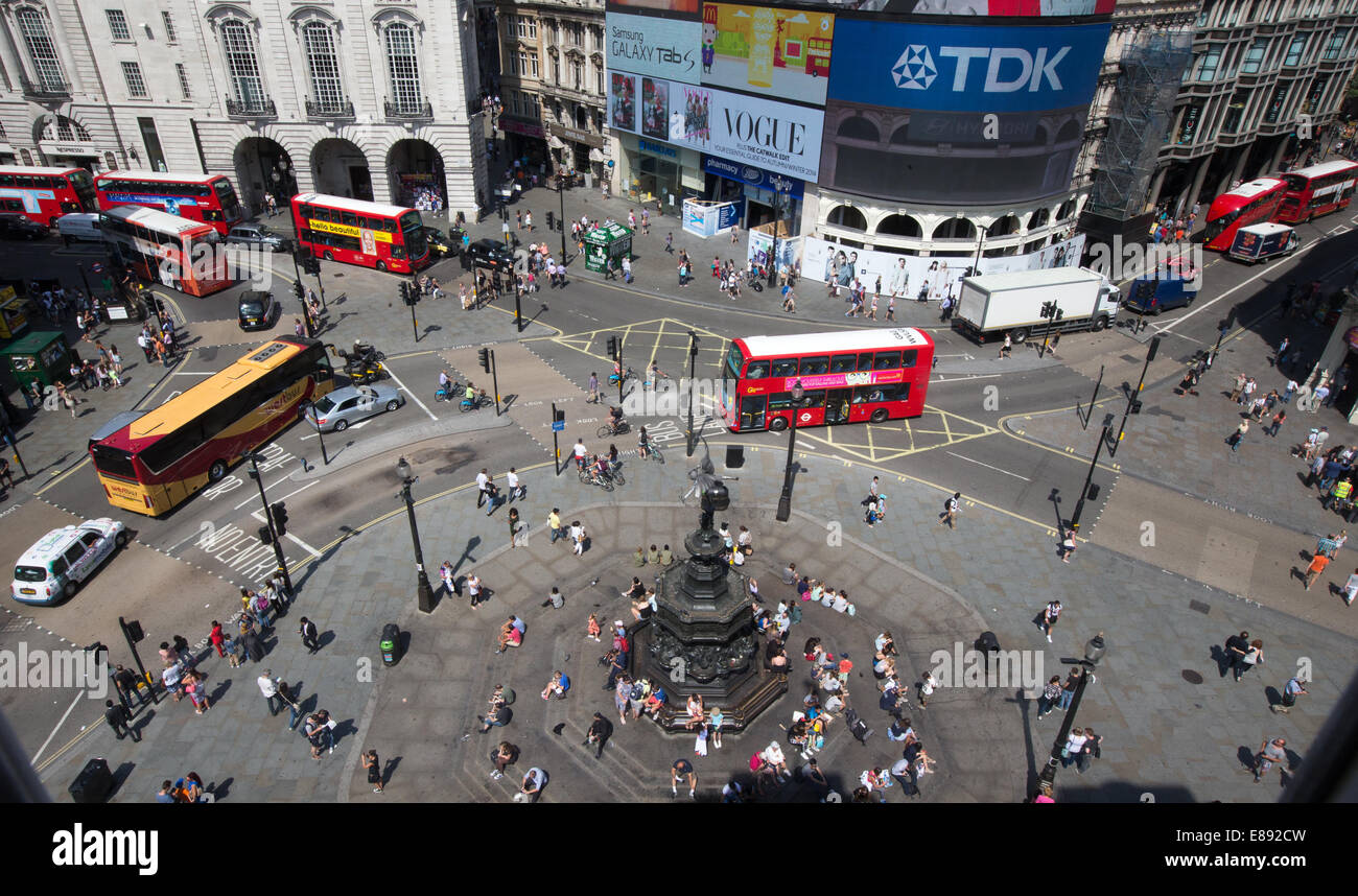 Piccadilly Circus built in 1819 to connect Regent Street to Piccadilly.It has a statue to Eros the Greek God of - Stock Image