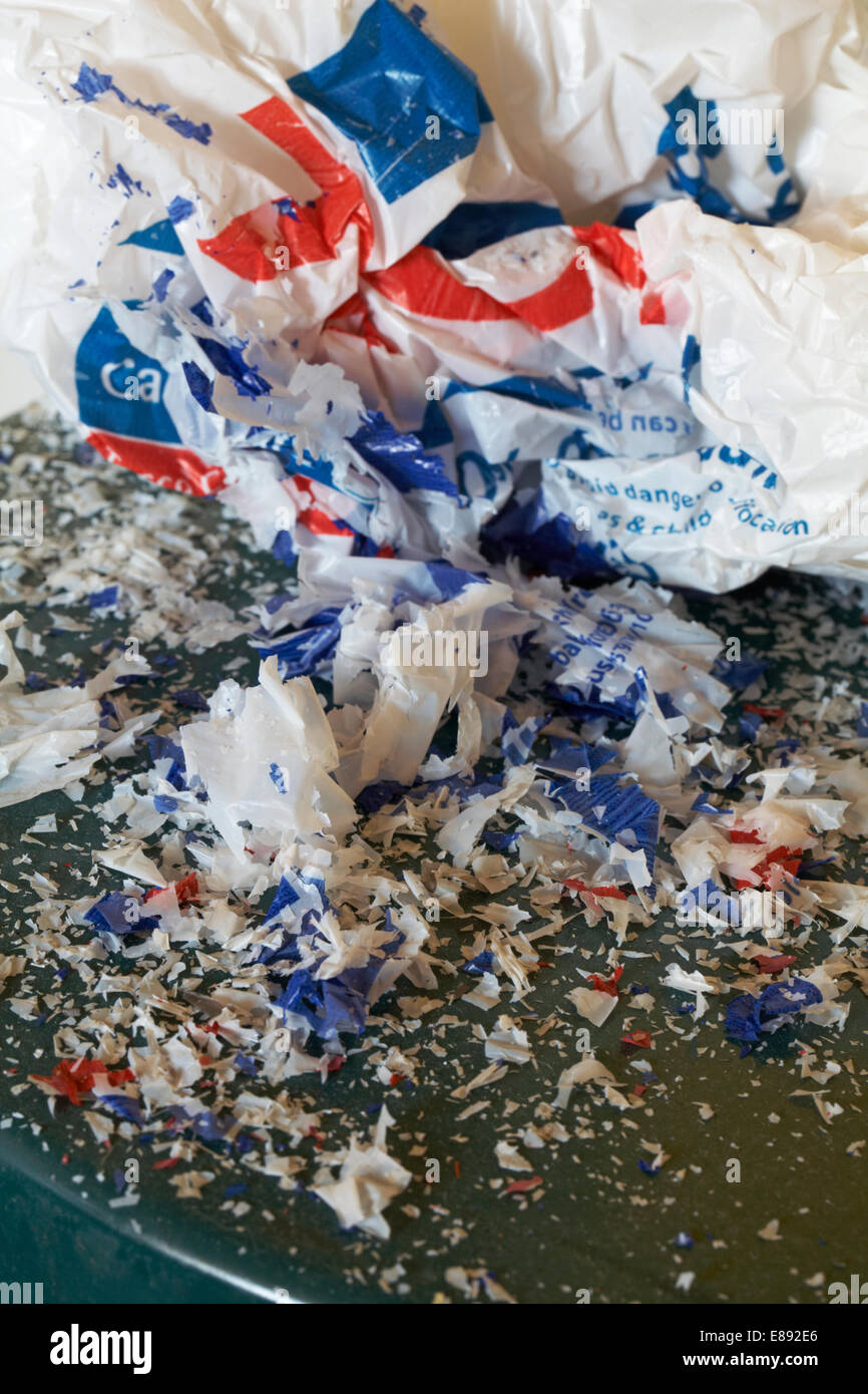 disintegrated Tesco recyclable carrier bag - Stock Image