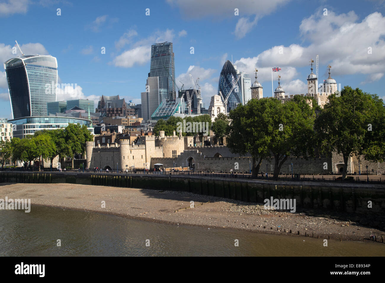 View of City of London with the Walkie-Talkie,The Gherkin,Cheesegrater and the Tower of London - Stock Image