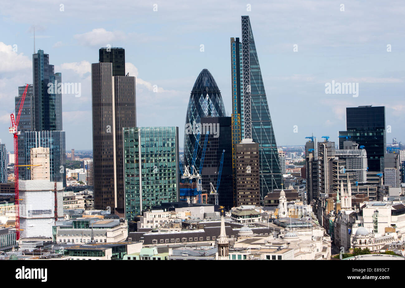 The City of London showing Tower 42,the Gherkin and the Cheesegrater - Stock Image