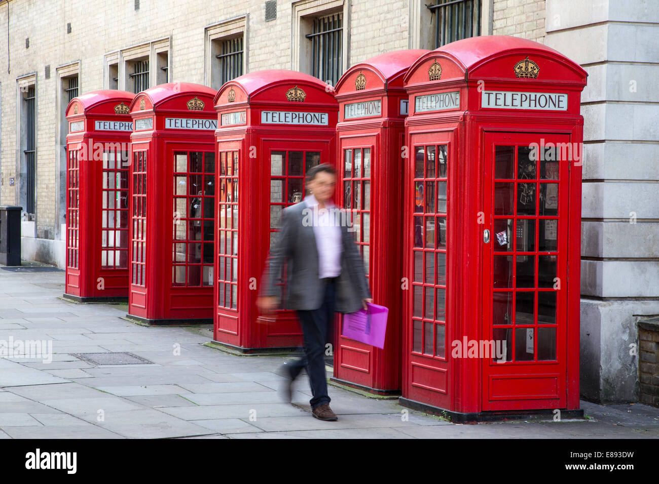 Red K2 Telephone Boxes designed by Sir Giles Gilbert Scott Broad Court,Covent Garden - Stock Image