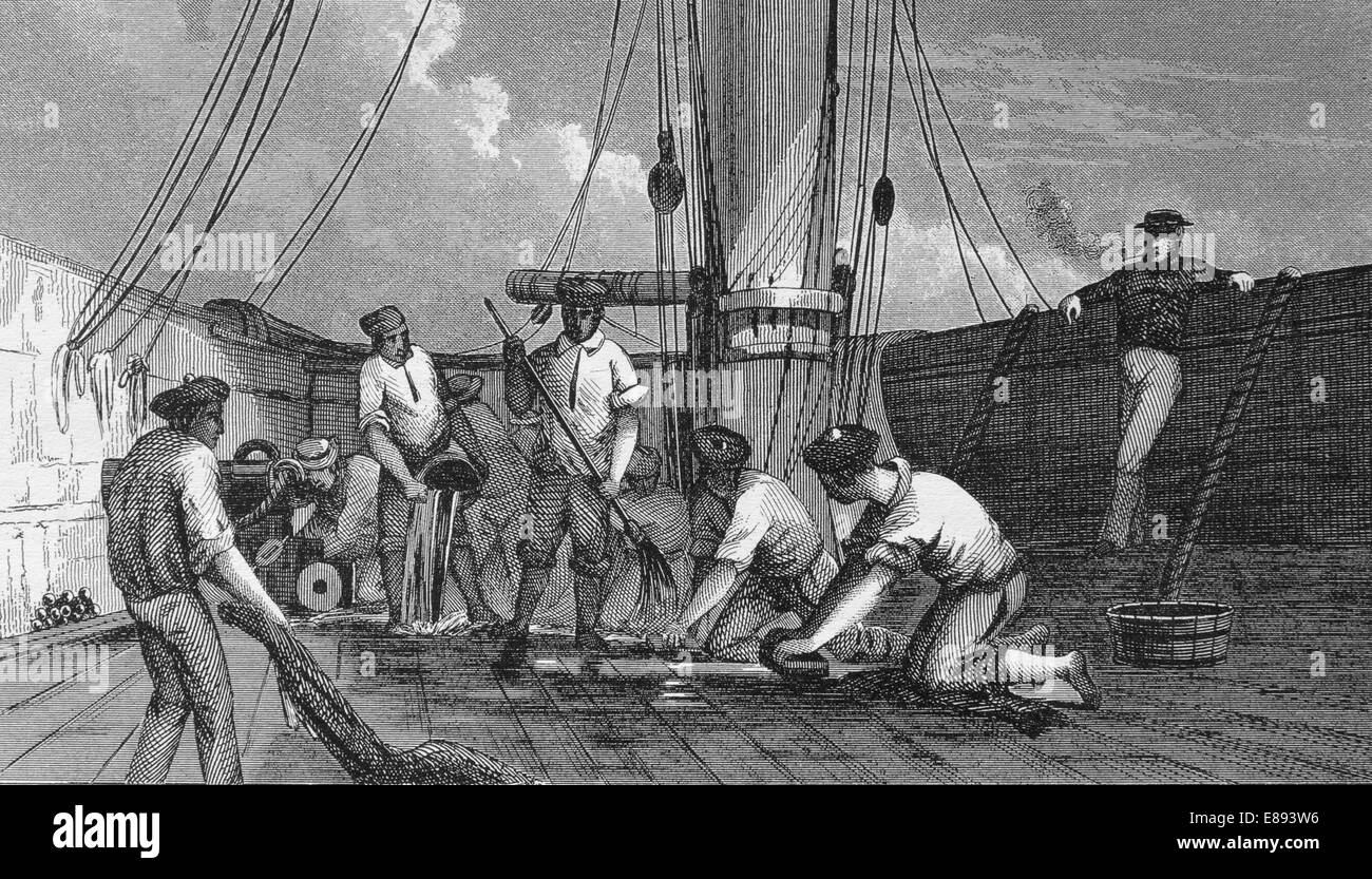 History of navigation. Cleaning the deck. Iconographic Enclyclopaedia of science, Literature and Art. 19th century. - Stock Image