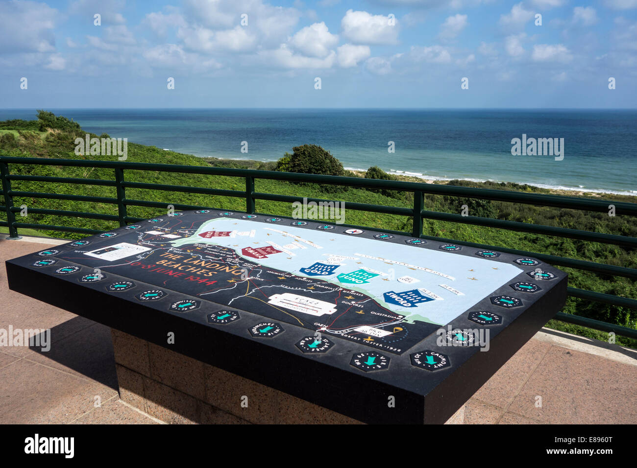 Orientation table shows D-Day landing beaches, Normandy American Cemetery and Memorial, Omaha Beach, Colleville - Stock Image