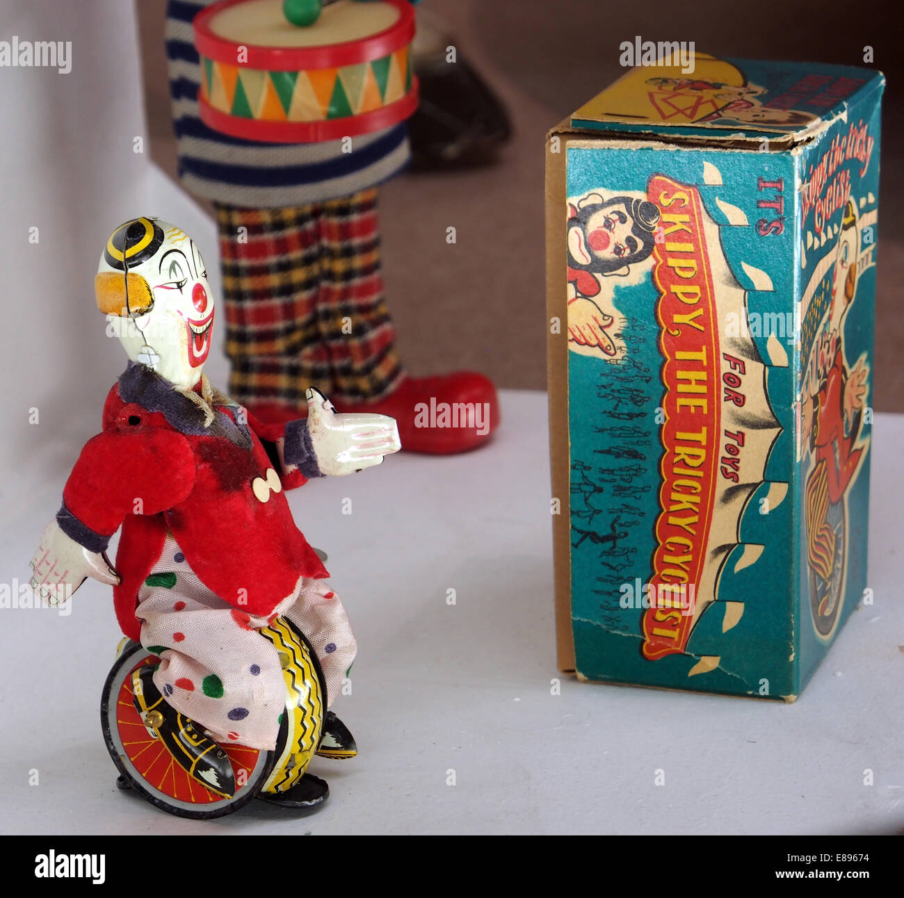 Tin toy Skippy, The Tricky Cyclist, MusC3A9e du jouet de Colmar - Stock Image