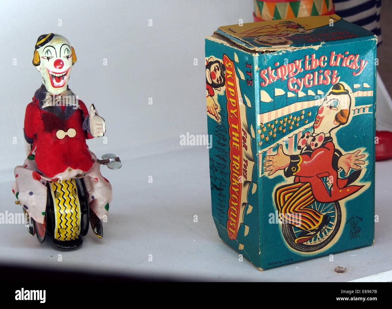 Skippy tricky cyclist, tin toy, MusC3A9e du jouet de Colmar - Stock Image