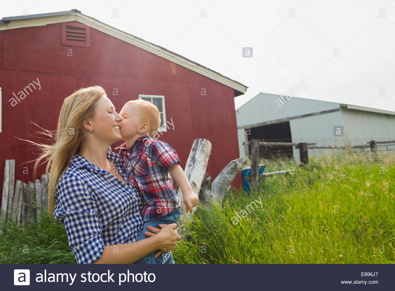 Little boy kissing mother on cheek, outdoors by barn - Stock Image