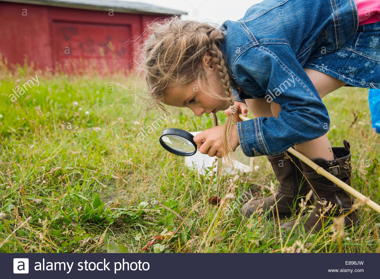 Curious girl with magnifying glass - Stock Image