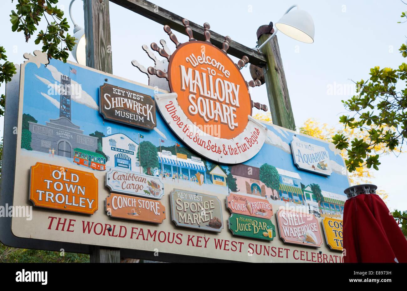 Mallory Square sign Key West Florida Keys - Stock Image