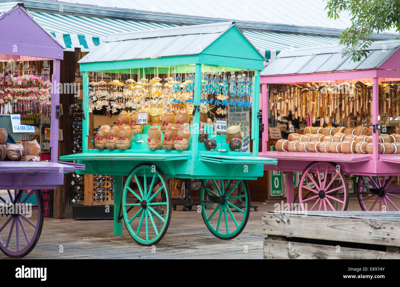 Souvenir carts in Mallory Square Key West Florida Keys - Stock Image