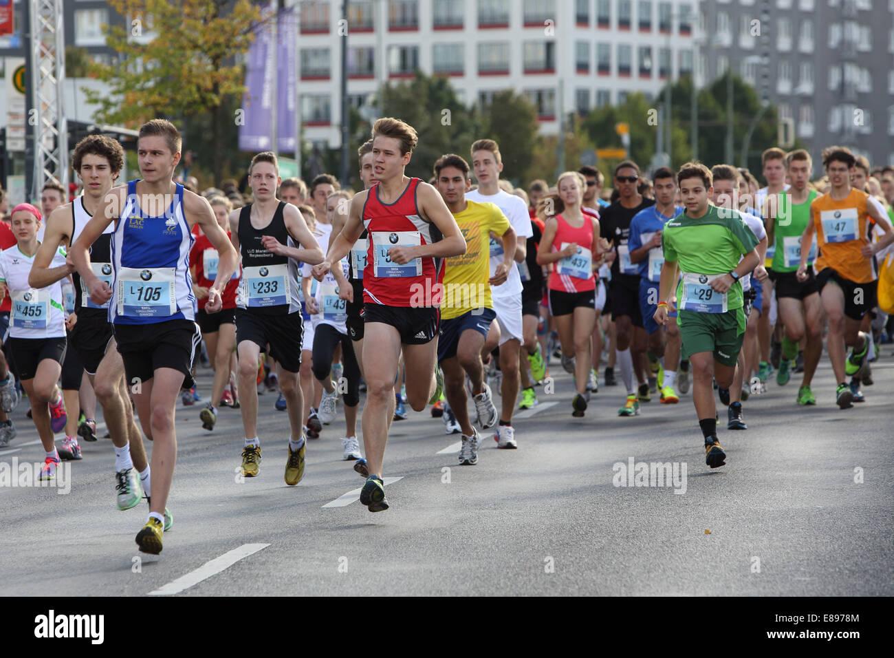 Berlin Germany Young People Run The Mini Marathon Stock Photo