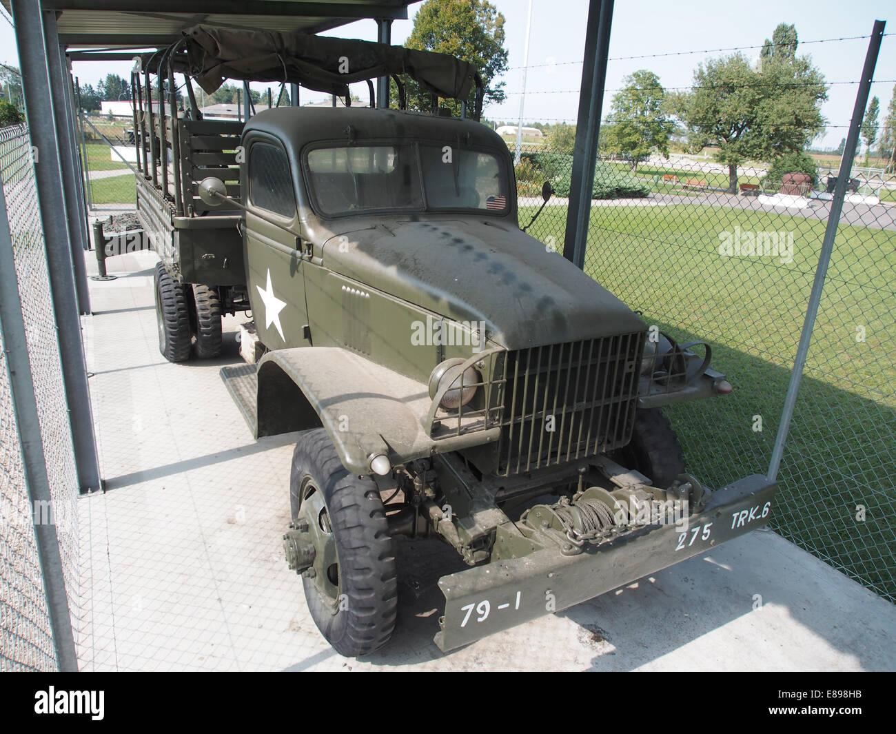GMC WW2 army truckM3 White halftrack at Casemate 35-3 - Marckolsheim - Stock Image
