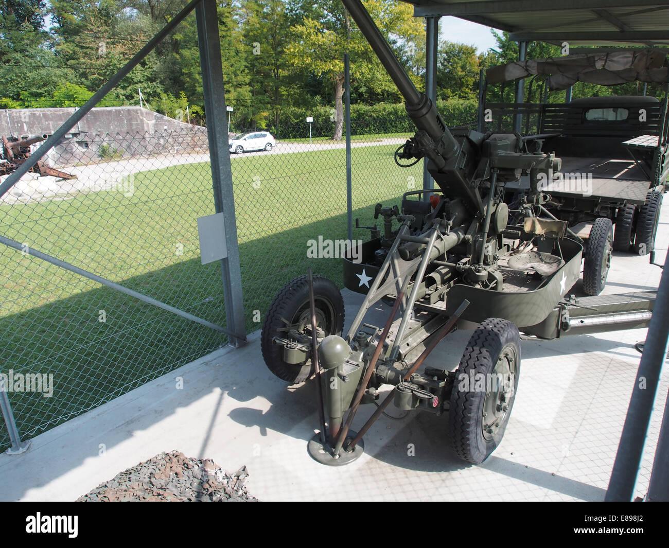 Bofors M1 AAA at Casemate 35-3 - Marckolsheim, photo 2 - Stock Image
