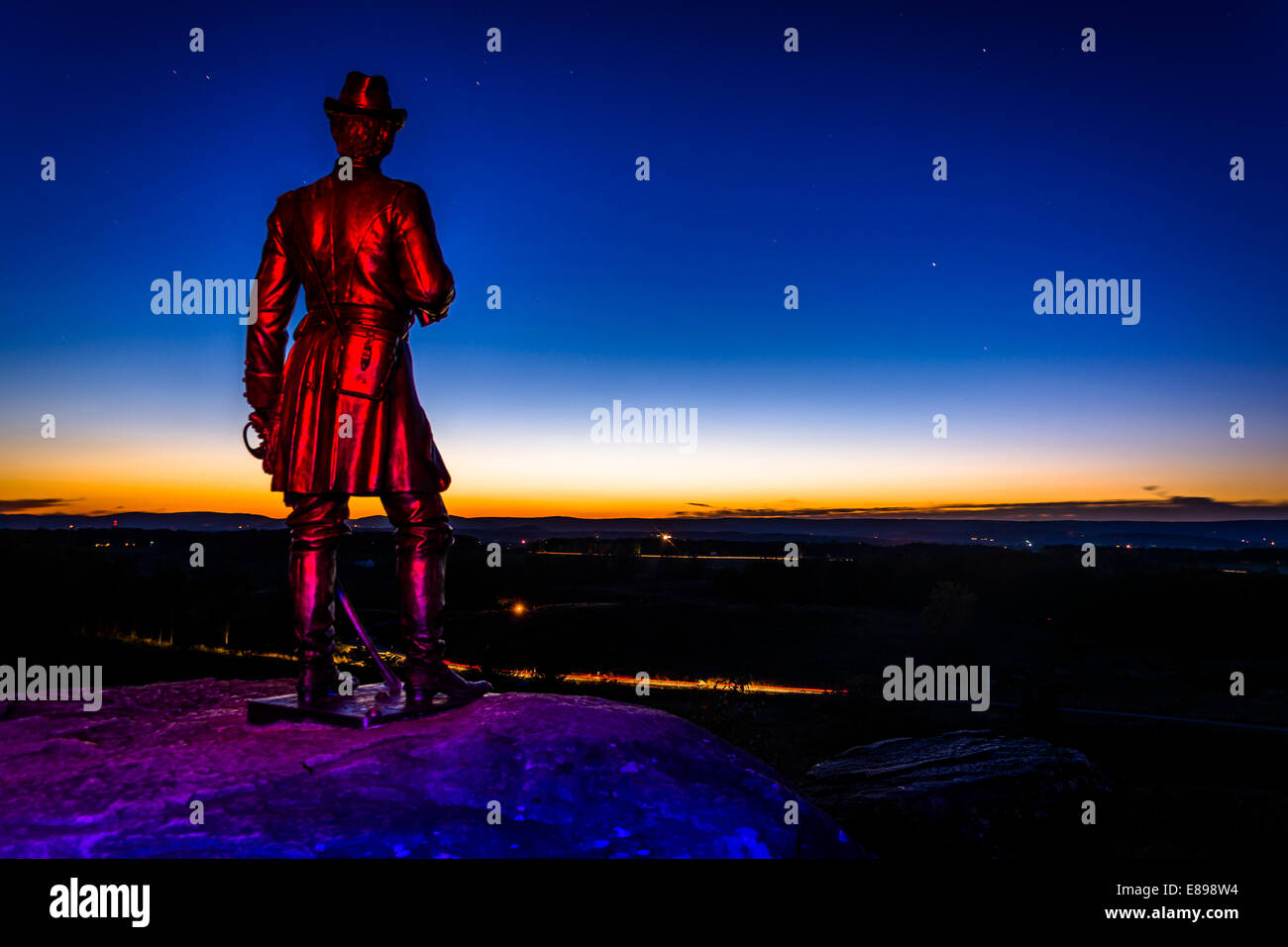 Light-painted statue at night on Little Round Top in Gettysburg, Pennsylvania. - Stock Image