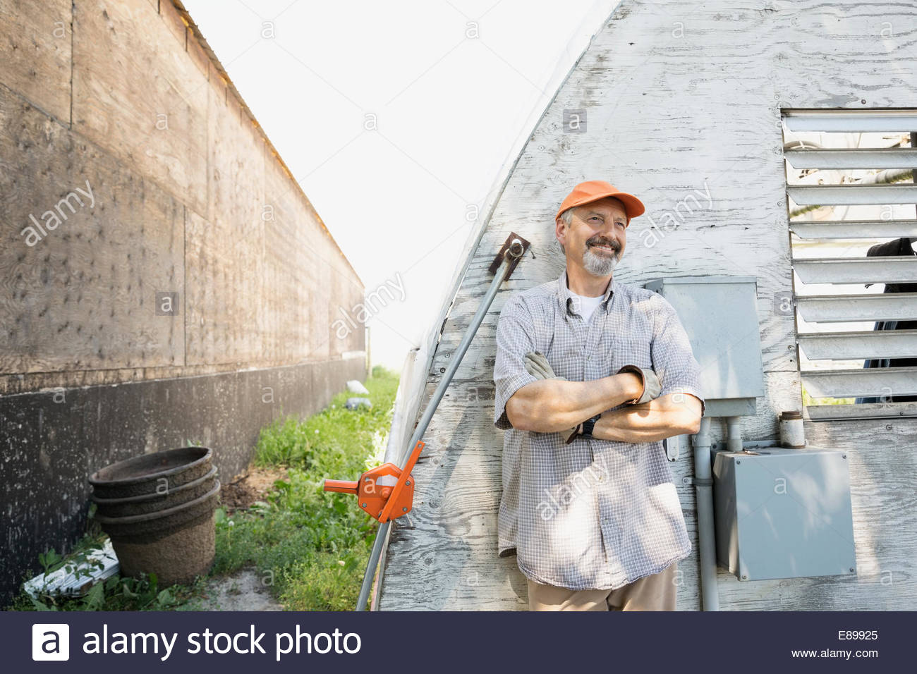 Smiling worker outside greenhouse - Stock Image