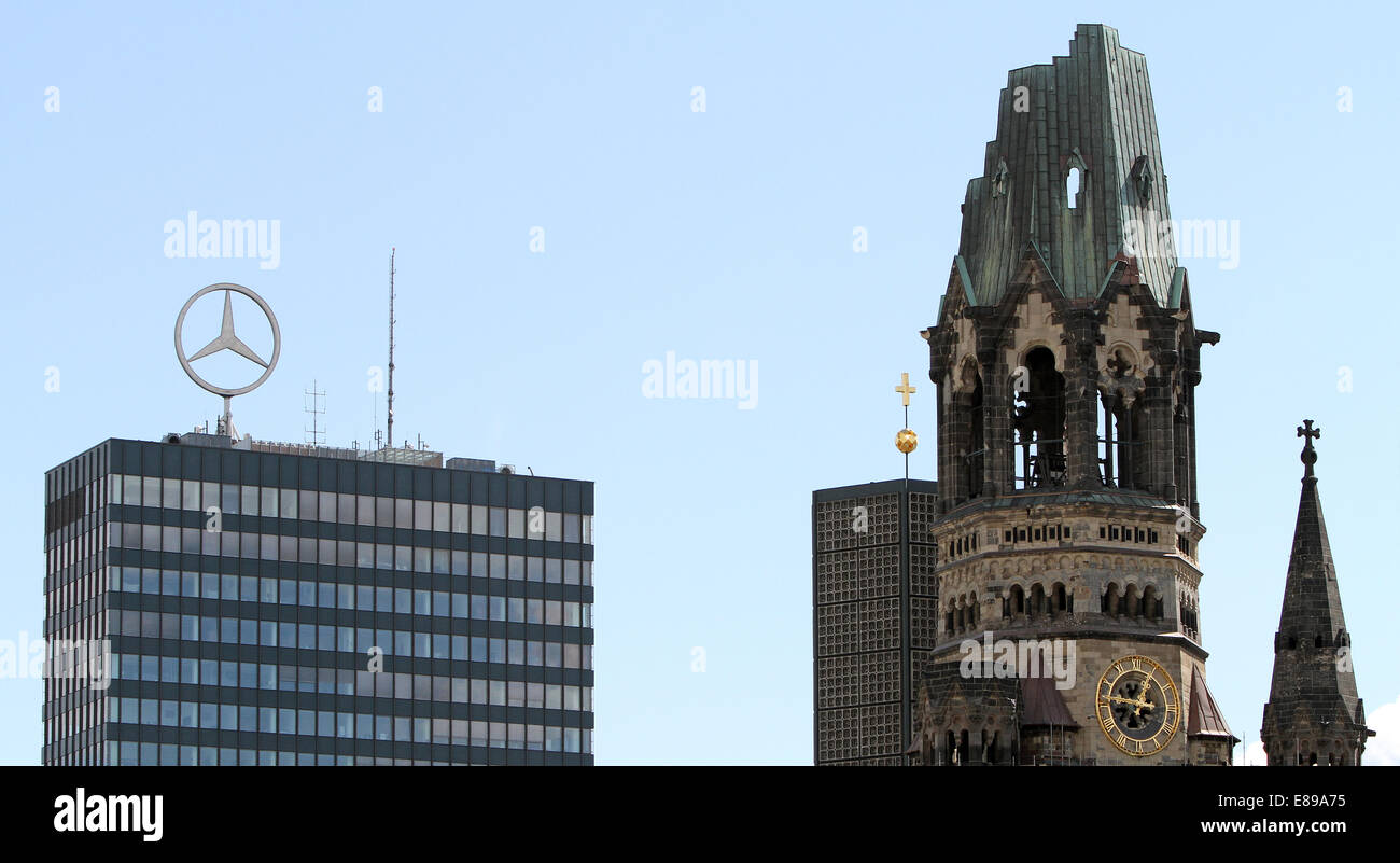 Berlin, Germany, towers of the Kaiser Wilhelm Memorial Church, and the Europa Center - Stock Image
