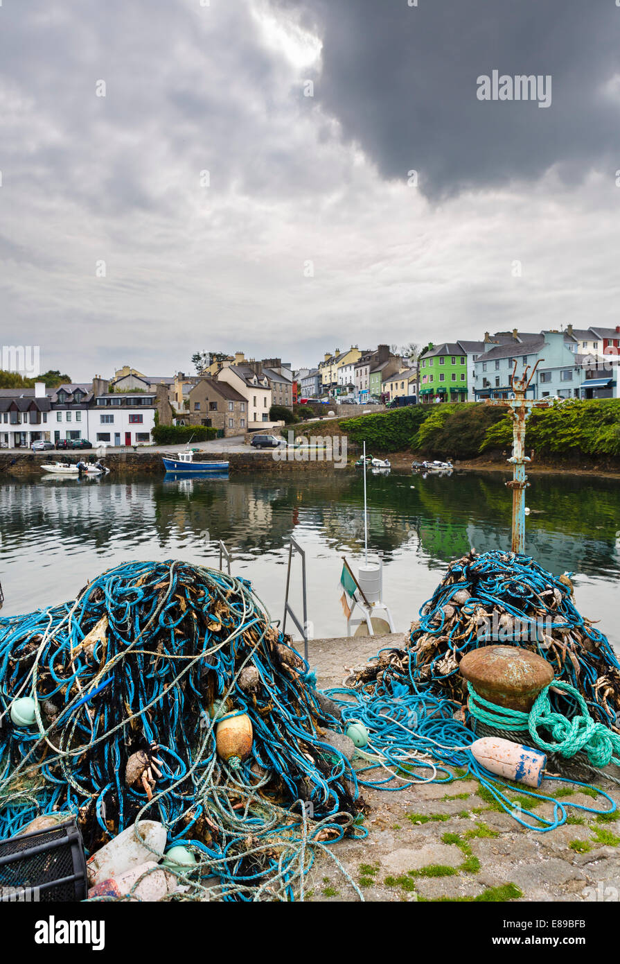 Crab nets on the quayside in Roundstone, Connemara, County Galway, Republic of Ireland - Stock Image