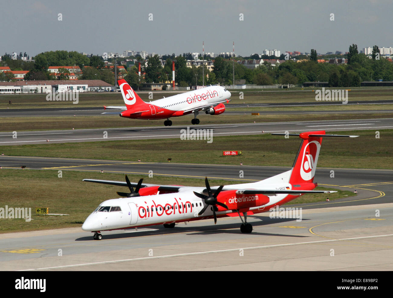 Berlin, Germany, Bombardier Dash 8Q-400 and Airbus A319 Air Berlin - Stock Image