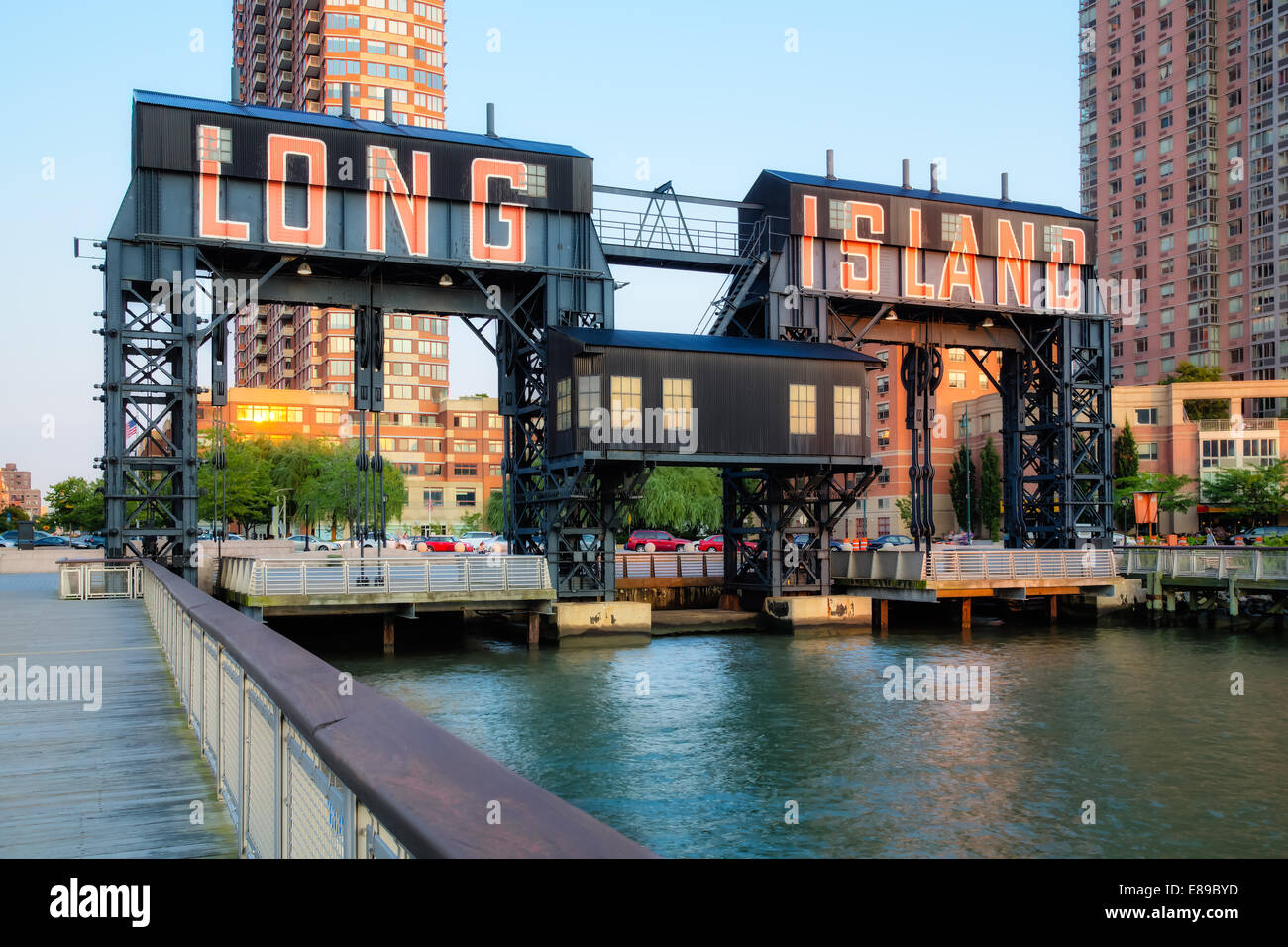 Gantry Plaza State Park gigantic gantries transfer bridges in Long Island City located in the borough of Queens, - Stock Image