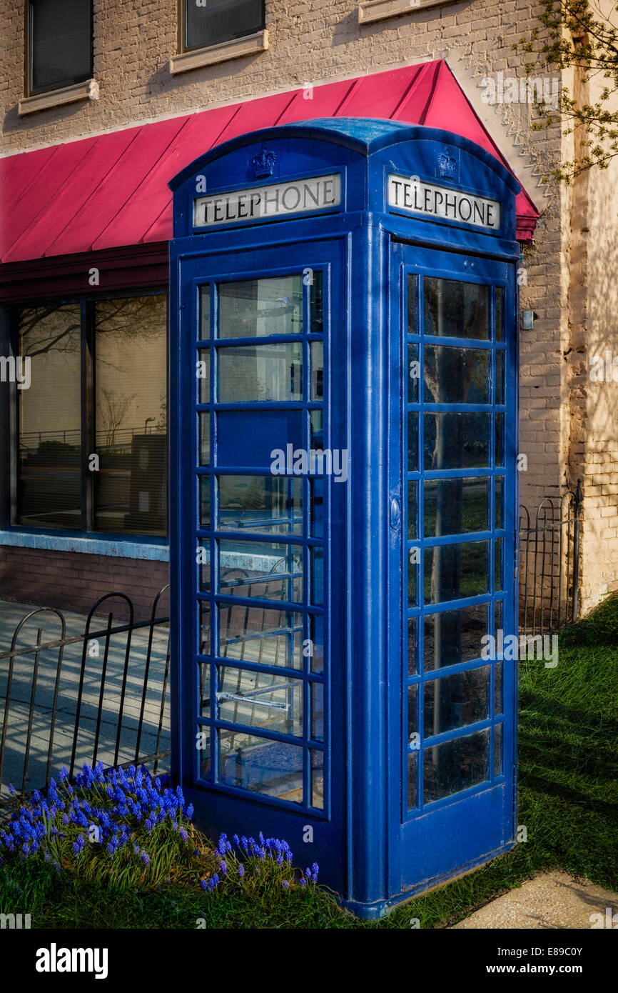 British Telephone Booth - Blue iconic British Telephone Box model K6 found in one of the streets of Washington DC. - Stock Image