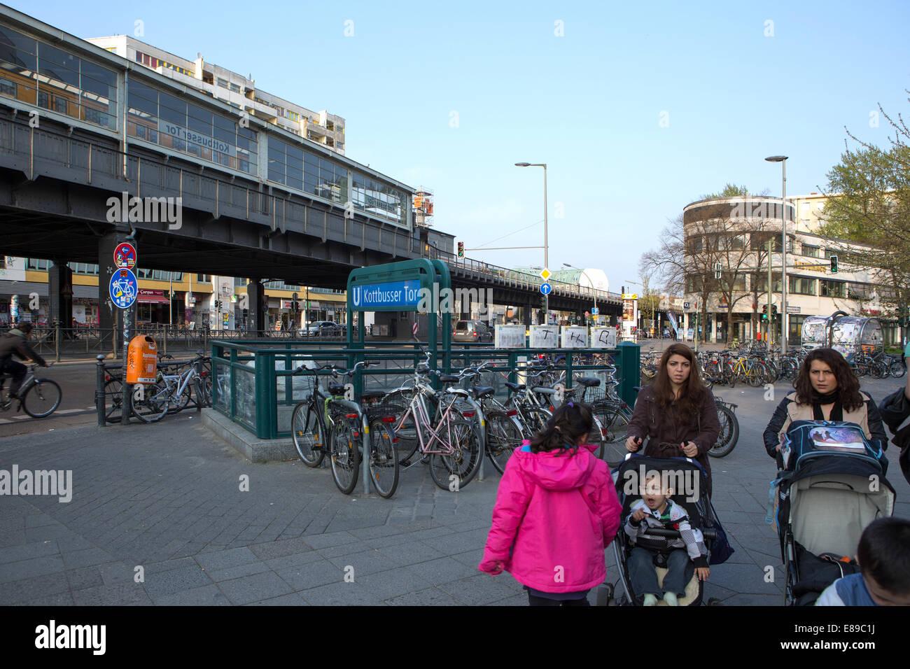 Berlin, Germany, passers Kottbusser Tor Underground Station - Stock Image