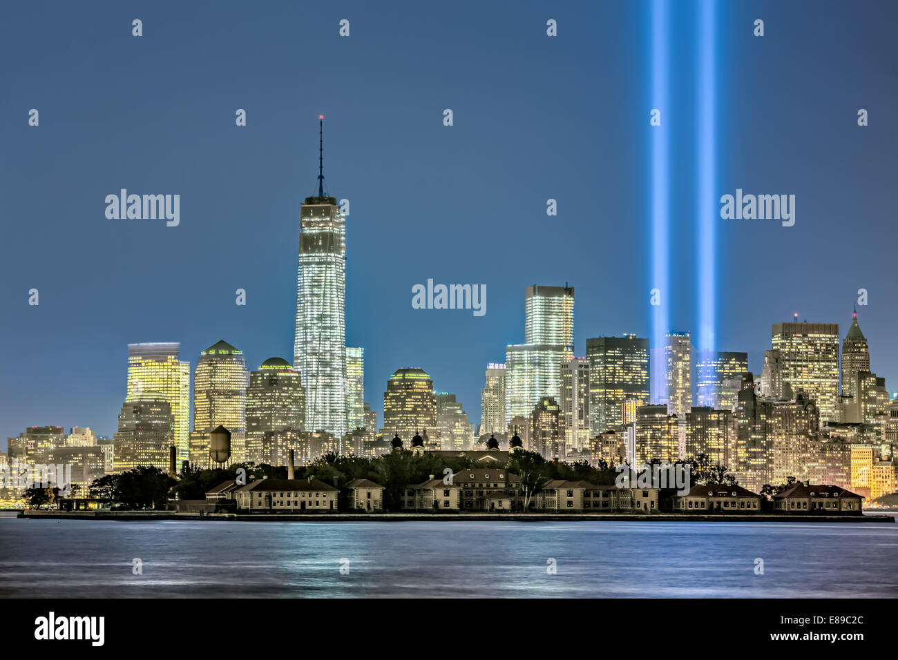 One World Trade Center Alongside Two Beams Of Light Shooting Up Into The  Sky During New York Cityu0027s Yearly Tribute In Light
