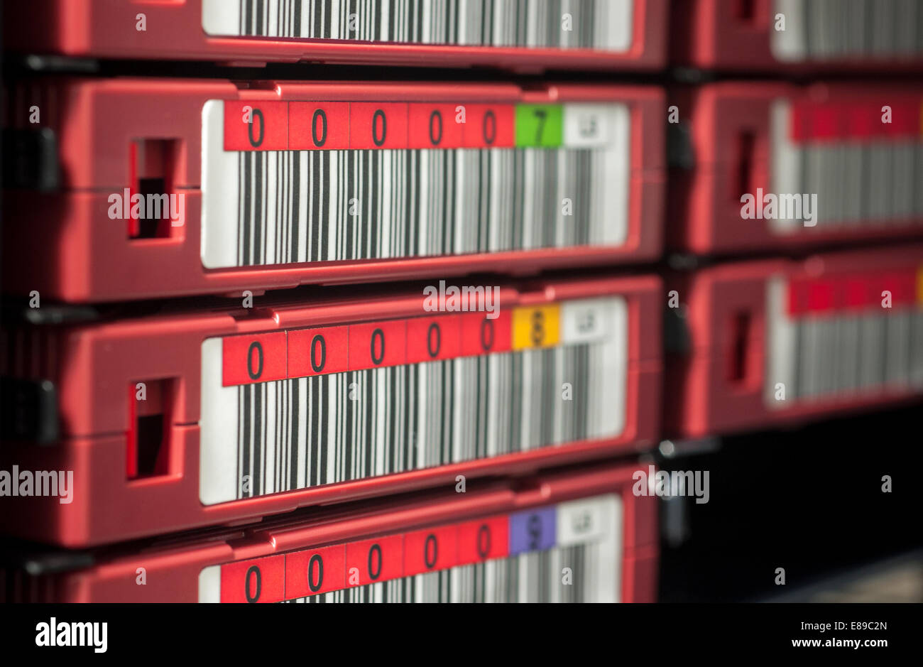 LTO5 Backup Tape Library with barcode numbering Stock Photo