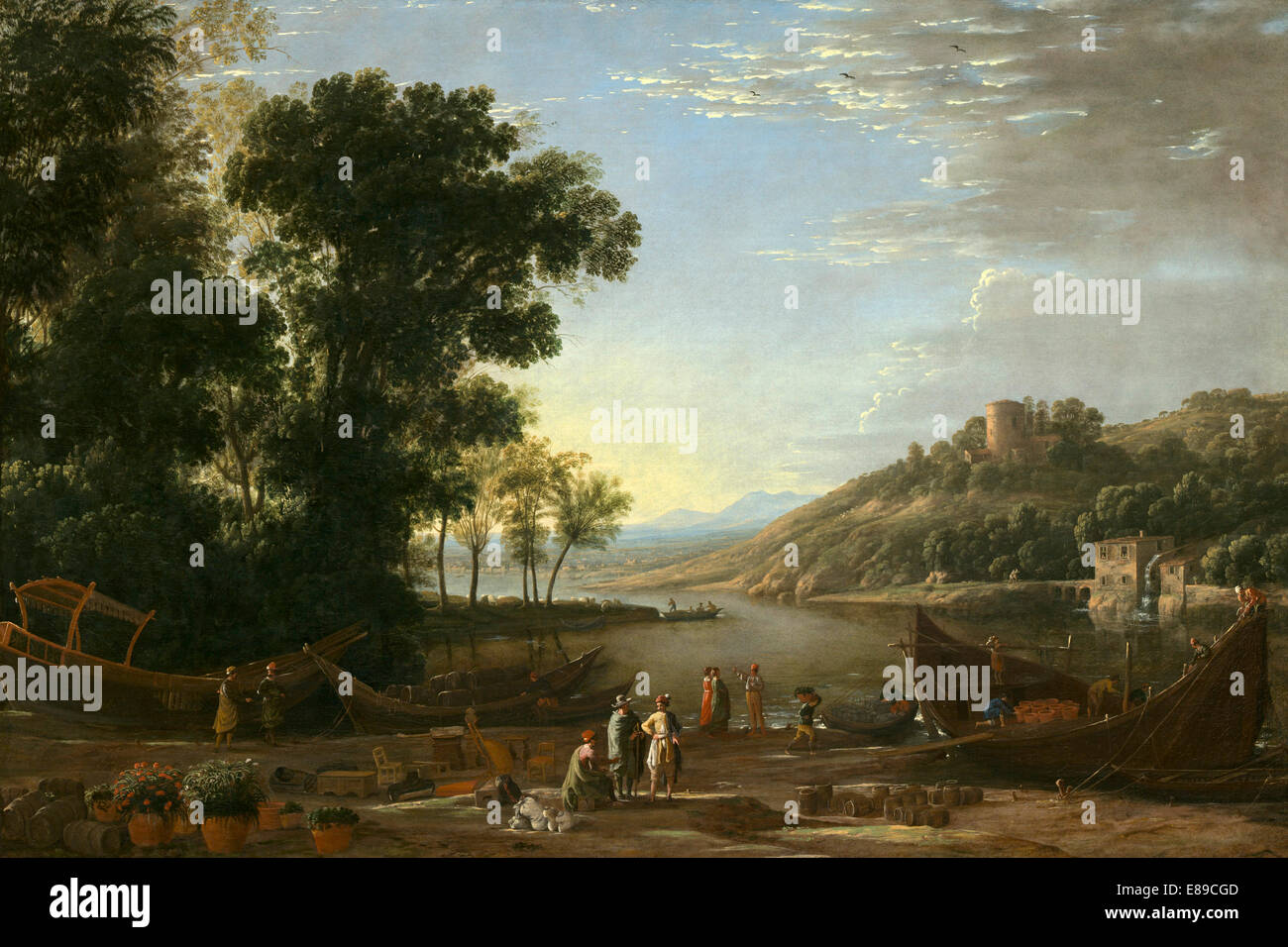 Claude Lorrain (French, 1604/1605 - 1682 ), Landscape with Merchants, c. 1629, oil on canvas - Stock Image