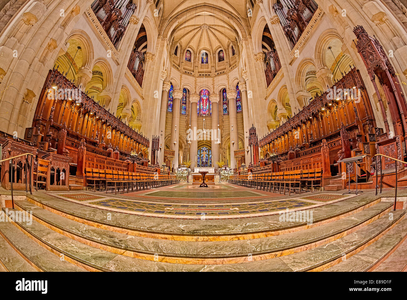 High Altar at Saint John the Divine Cathedral in Manhattan's neighborhood of Morningside Heights in New York - Stock Image