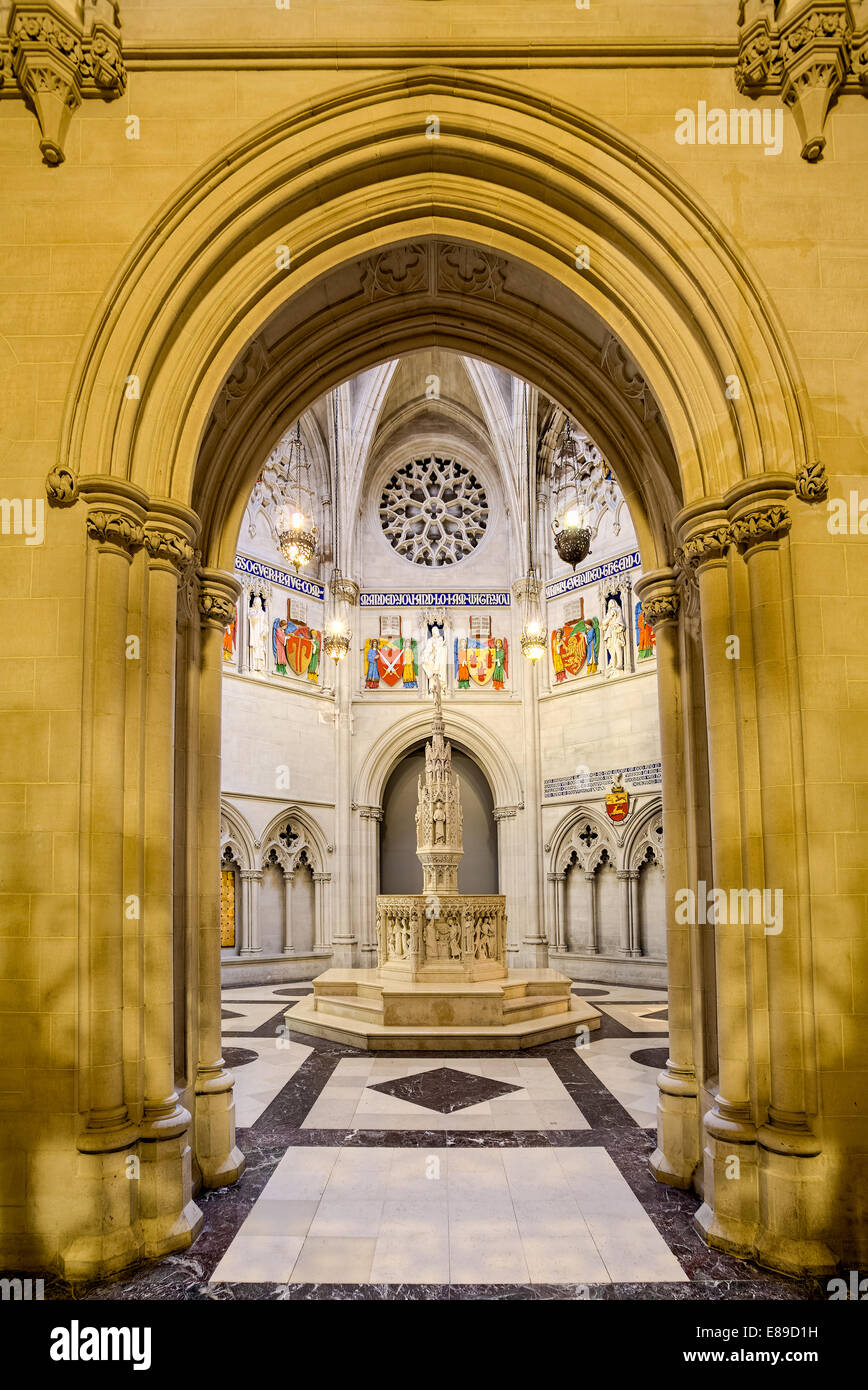 A view to the Baptistery in Saint John the Divine Cathedral in Manhattan's neighborhood of Morningside Heights - Stock Image