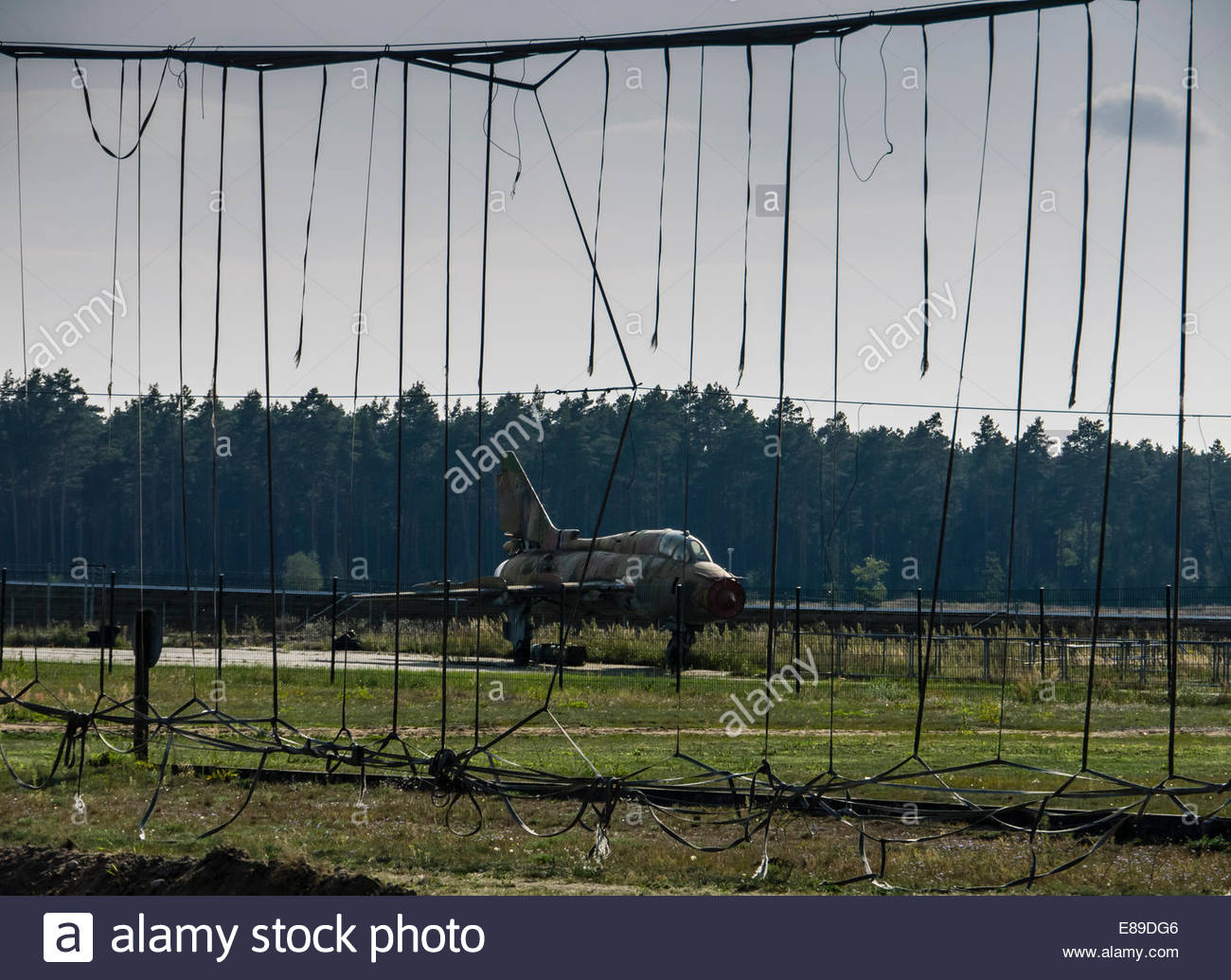 Germany East DDR, Finow, Museum Russian Cold War Base Mig 21 Aircraft Arrester Barrier remains - Stock Image