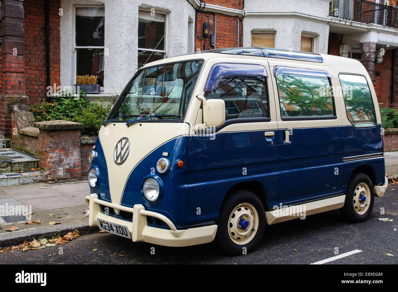Volkswagen van parked in residential area in London England United Kingdom UK - Stock Image