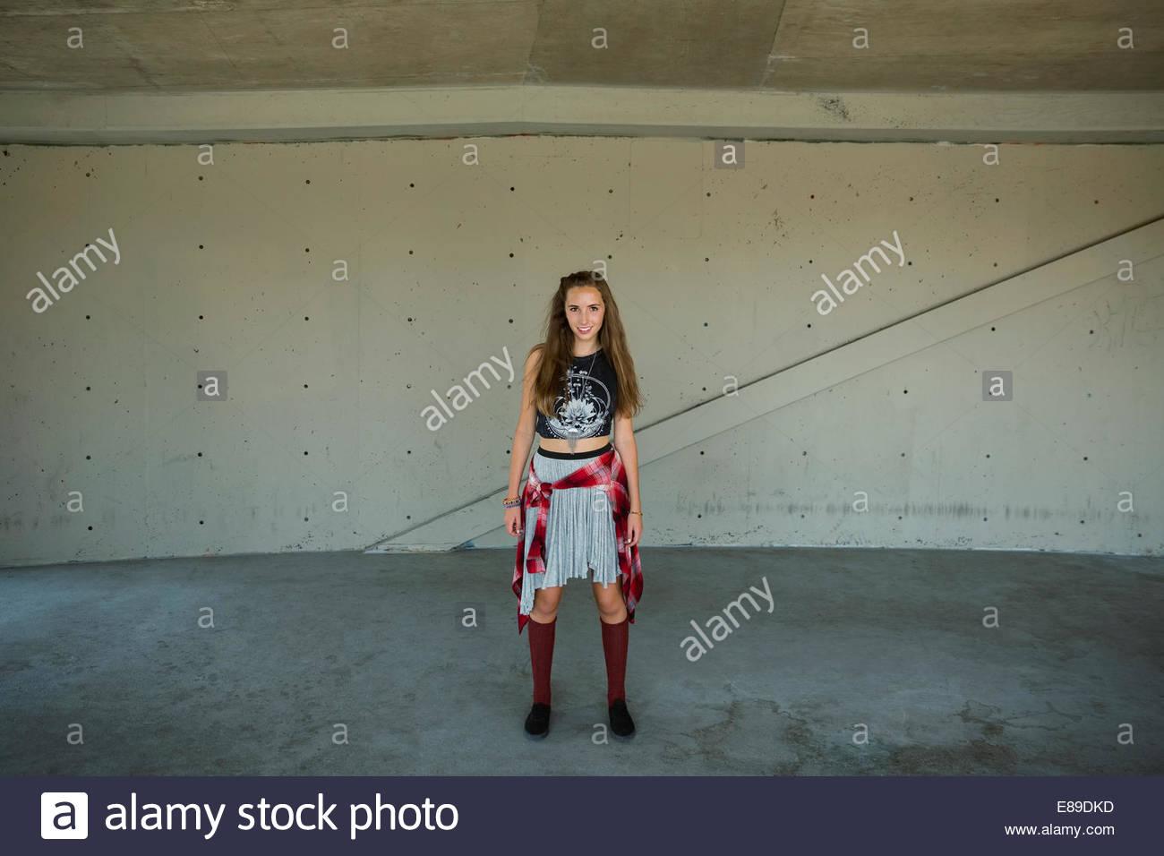 Portrait of cool teenage girl - Stock Image