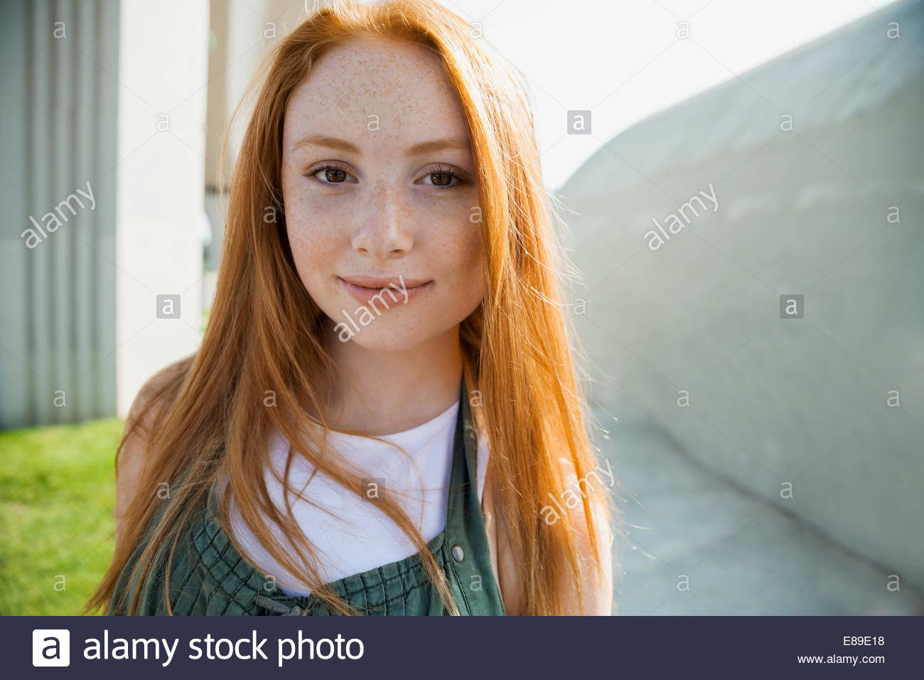 Close up portrait of teenage girl - Stock Image
