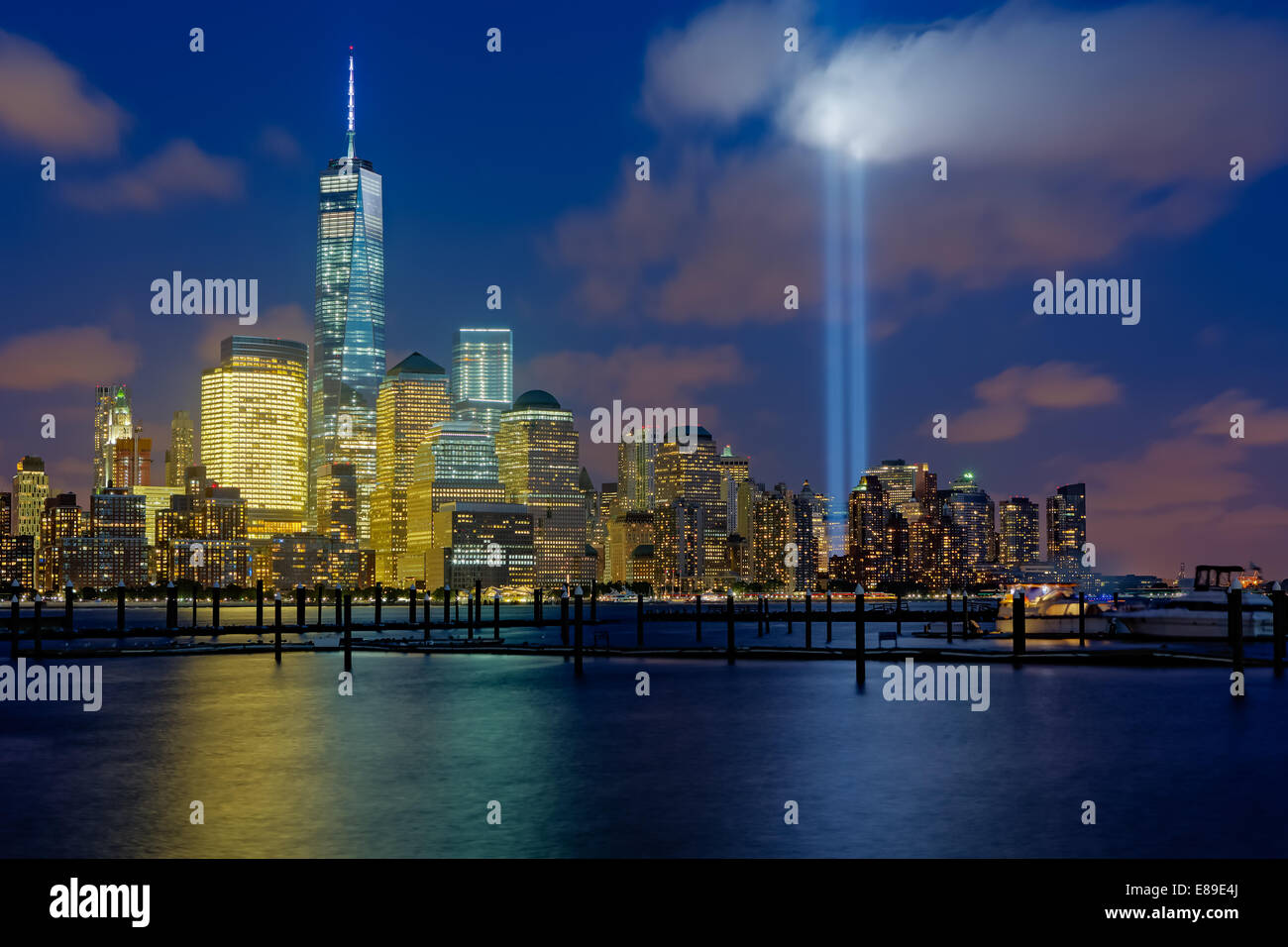 One World Trade Center Commonly Referred To As The Freedom Tower With The  Two Beams Of Light During 911 Tribute