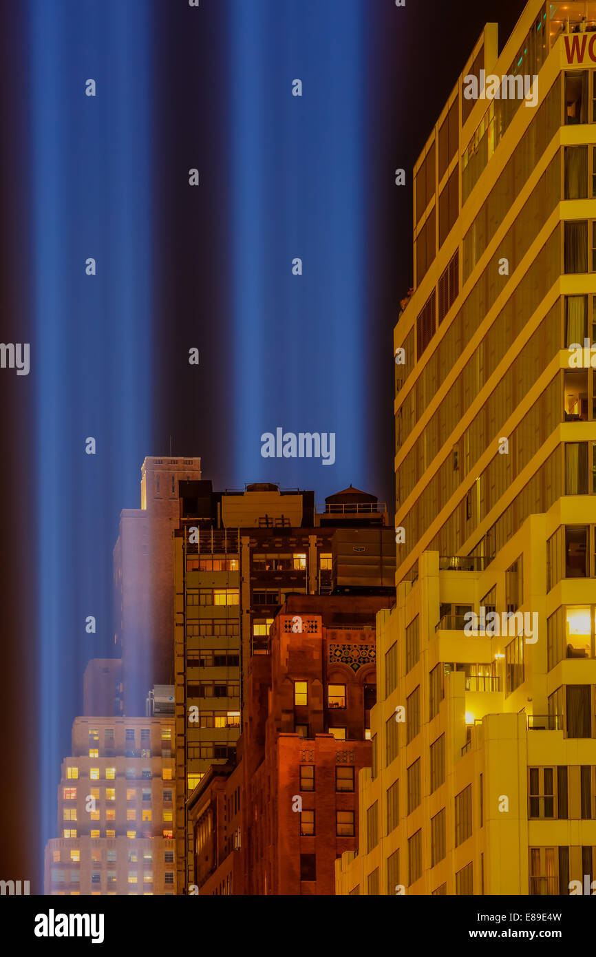 Two beams of lights shinning into the night sky during the World Trade Center September, 11  Tribute in New York Stock Photo