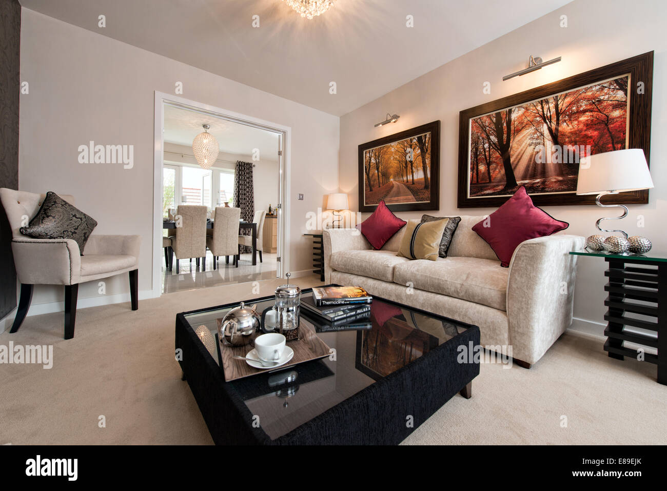 the living room of a persimmon homes show home on a typical british rh alamy com Home Kitchen living room show homes