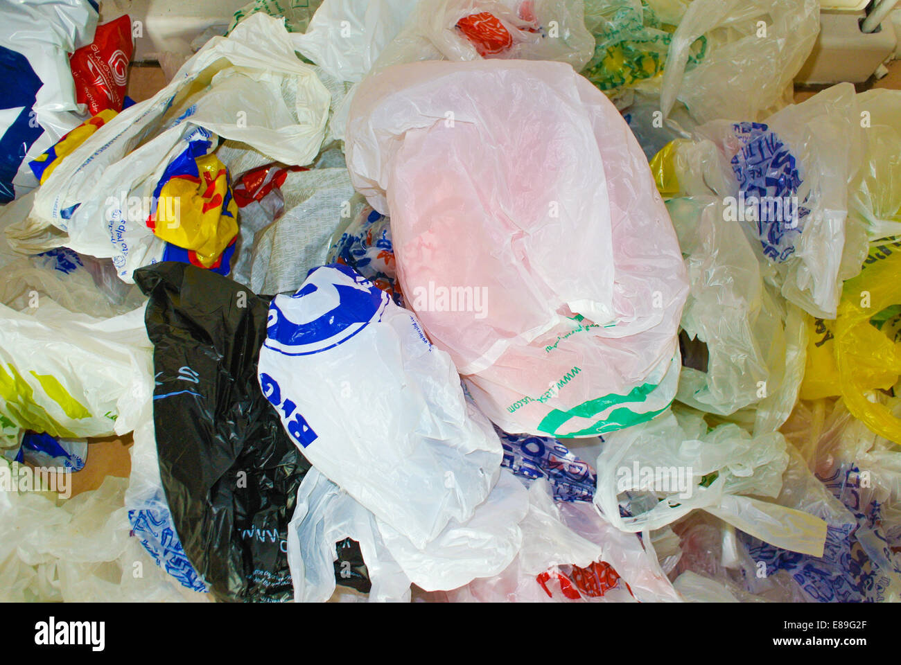 Plastic bags ready to be recycled - Stock Image