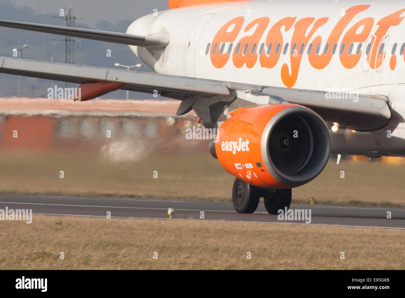 easyJet airbus preparing to takeoff at Luton Airport - Stock Image