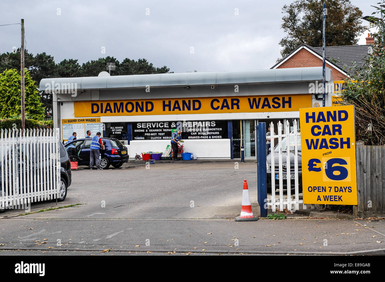 Hand car wash business - Stock Image