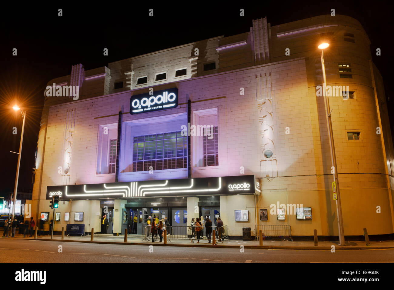 The O2 Apollo music venue on Stockport Road, Ardwick Green, in Manchester, taken on a dark night (Editorial use - Stock Image