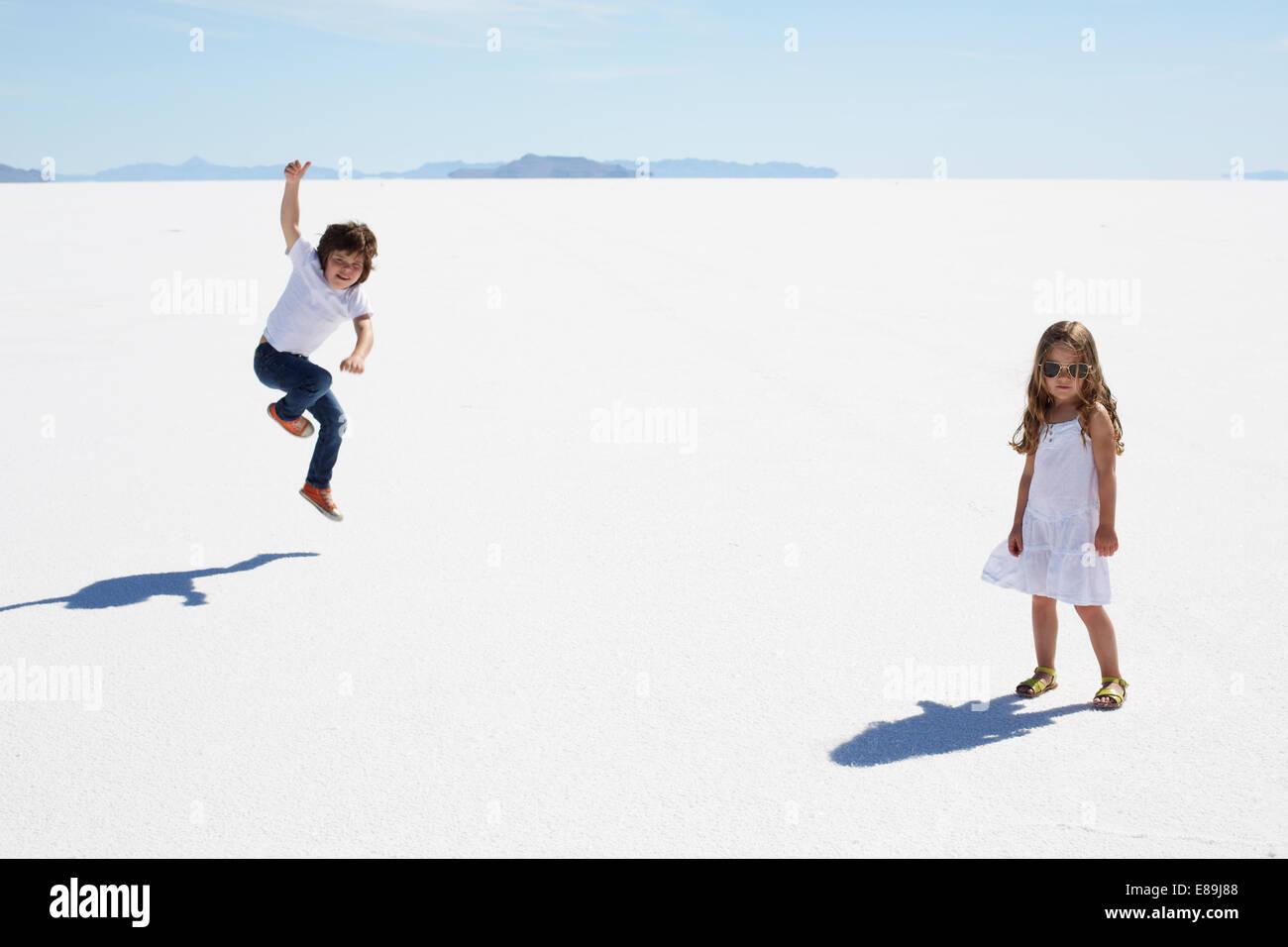 Kids at the Bonneville Salt Flats - Stock Image